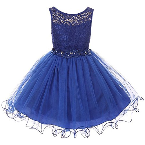 Big Girls Stretch Lace Bodice Wired Tulle Skirt with Flower Patch on Waistline Dress Royal Blue - Size 8