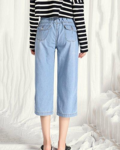 Droite Grande ShiFan Femmes Clair Jeans Pantalon Bleu Taille Baggy pour Capri Coupe UtwzqFft