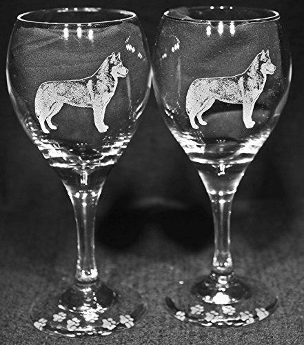 Muddy Creek Wine - Muddy Creek Reflection Siberian Husky Dog Laser Etched Wine Glass Set (2, TDW)