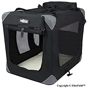 "EliteField 3-Door Folding Soft Dog Crate, Indoor & Outdoor Pet Home, Multiple Sizes and Colors Available (42""L x 28""W x 32""H, Black)"
