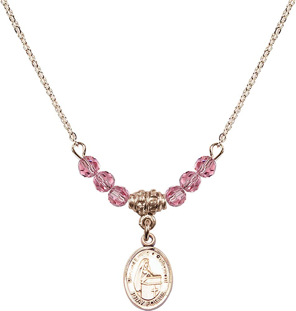 18-Inch Hamilton Gold Plated Necklace with 4mm Rose Birthstone Beads and Gold Filled Blessed Emilee Doultremont Charm.