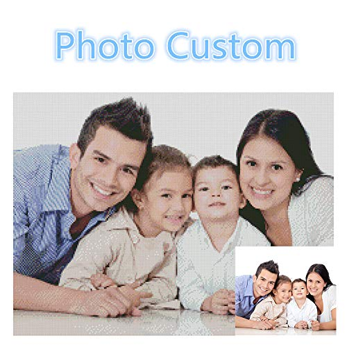 Manual DIY 5D Diamond Painting Couple Family Personal Photo Custom, Painting Cross Stitch Full Diamond Crystal Embroidery Canvas Art Family Wall Decoration Gift(Square 70x80cm)]()