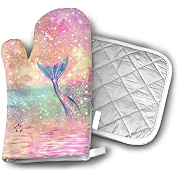 Glitter Pink Mermaid Oven Gloves Non-Slip Kitchen Oven Mitts Heat Resistant Cooking Gloves for BBQ,Baking,Grilling,Barbecue Potholder