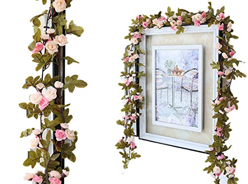 Floral Vine Pink (Lannu 2 Pack Artificial Rose Vine Flowers Fake Garland Ivy Flowers Silk Hanging Garland Plants for Home Wedding Party Decorations, (Pink &Champagne ))