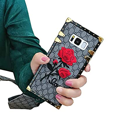 reputable site 6268c 37d41 Galaxy Note 9 Rose Flower Case,SelliPhone Luxury Design Embroidery Rose  Flower 3D Floral Soft TPU Bumpe Trunk Cover with Wrist Strap for Samsung ...