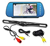 Pyle 7-Inch Mirror Monitor Backup Camera with License Plate Mount and Parking Assist System PLCM7800