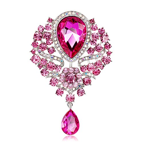 Grtdrm Created Rhinestone Crystal Brooch, Big Crystal Rhinestone Bouquet Brooch Fashion Pin Gift for Women Girls (Pink)