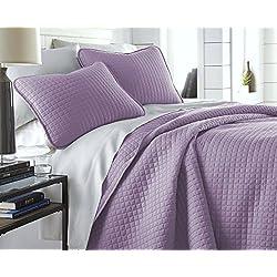 Southshore Fine Linens - Vilano Springs Oversized 2 Piece Quilt Set, Twin/Twin XL, Lavender