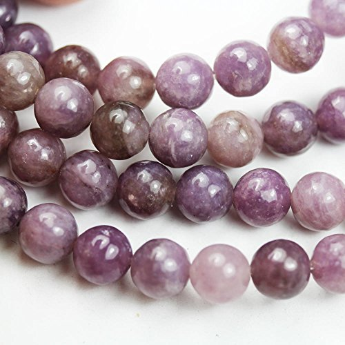 6mm One full strand Round Lepidolite Beads Gemstone Strand, Center drilled, about 70 beads -