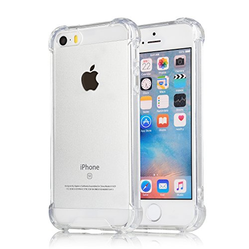 [Crystal Clear] iPhone 5 / 5s / SE Case, iXCC Cover Case [Shock Absorption] with Transparent Hard Plastic Back Plate and Soft TPU Gel Bumper - Clear - Transparent Clear Phone Cover