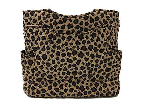 Leopard Quilted Tote - Vera Bradley Pleated Tote Zip Top Bag (Leopard)