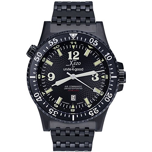 Xezo Men's Air Commando D45-BL Japanese-Automatic Diver's Pilots Watch. 2nd Time Zone. 200M WR. Black PVD Titanium Carbide Coated 2nd Time Zone Black Dial
