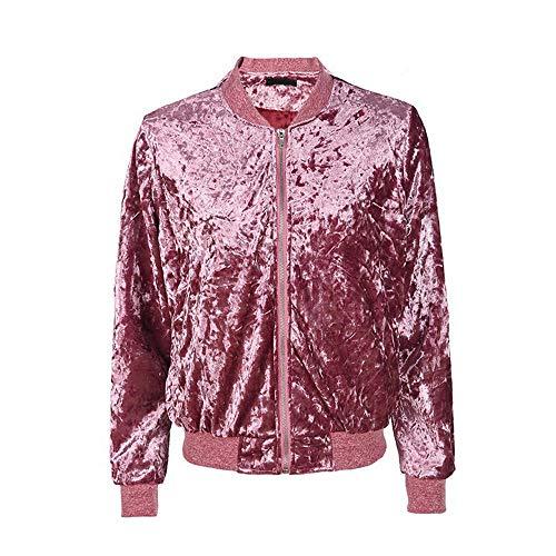 Delle Lunga A Velluto Di Signore Baseball Hot Morwind Caldo Pink Cappotto Per Vento Elegante Jacket Giacca Cardigan Dell'annata Inverno 2018 Donne Coat AxZ87qn0Z