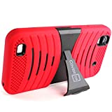 zte quartz protective phone case - ZTE Quartz Phone Case, CoverON [Dual Defense Series] Protective Hybrid Armor Kickstand Phone Cover Case for ZTE Quartz Z797C - Red & Black
