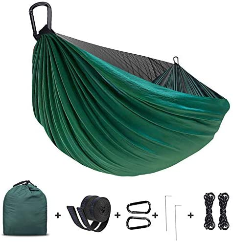Camping Hammock,Lightweight Portable Parachute Nylon Hammock with Tree Straps,Double Single,Hiking Hammock,Suitable for Indoor, Outdoor, Hiking, Camping, Backyard, Beach, Backpacking Blue