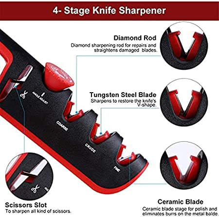 Afiladores, Afilador De Cuchillos De Mano,3 Etapas Afiladores Manuales Knife Sharpener Para Afilar Cuchillos, Tijeras, Navajas, Cuchillos (Negro + Gris)