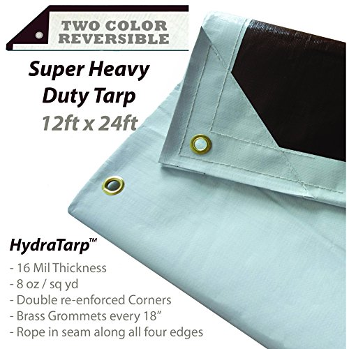 20' Double Duty Tarp - HydraTarp 12 Ft. X 24 Ft. Super Heavy Duty Waterproof Tarp - 16mil Thick - White/Brown Reversible Tarp