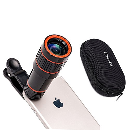 12X Optical Zoom Telescope Lens, Zwish Clip On Cell Phone Camera Lens for iPhone 6/6s Plus/7/8/SE, Samsung S8/S7/S6/Edge, LG, Moto, HTC, Sony and More