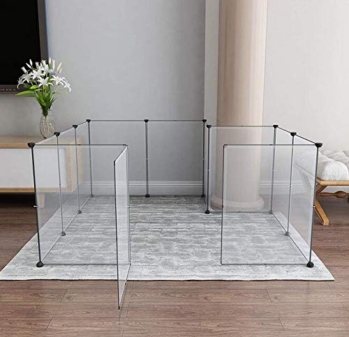 Expandable Dog Playpen, Portable Large Plastic Yard Fence Small Animals, Popup Kennel Crate Fence Tent, Transparent White 12 Panels