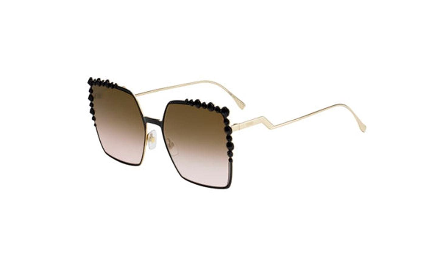 3f8cc3ebb2 Amazon.com  New Fendi FF 0259 S 205 53 Black Sunglasses  Clothing