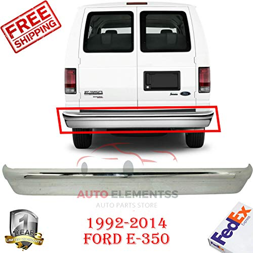 New Rear Steel Chrome Bumper For 1992-2014 Ford Van E-150 250 350 Super Duty Base Extended/Standard Cargo XL/XLT/Cutaway Passenger Van Without Molding Holes & Step OE Replacement FO1102362 (2014 Ford E 250 Extended Cargo Van)