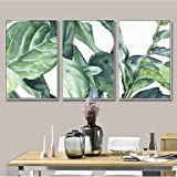 DB&PEISHI Botanical Frame Art Wall Art,Steel Material With Frame For Home Decoration Frame Art Living Room , spring grass green