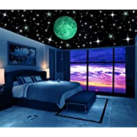 Glow in the Dark Stars w/ Bonus 20cm Full Moon Wall Decal...