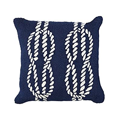 "Liora Manne 7F08SB01833 Whimsy Sailor's Knot Indoor/Outdoor Pillow,Navy,18"" Square - Handmade 100% Synthetic Easycare - patio, outdoor-throw-pillows, outdoor-decor - 51JKCLIsdJL. SS400  -"