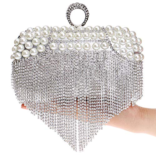 Silver Purse Dress Diamonds Clutches For Chain Wedding Bags Evening Handbags Womens XPqvfg