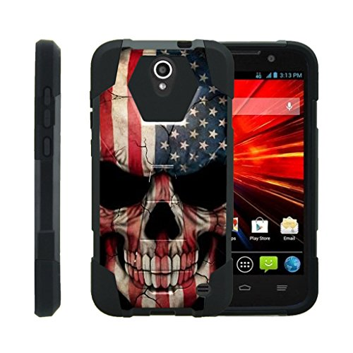 TurtleArmor | ZTE Grand X 3 Case | ZMax Champ Case | ZMax Grand | Warp 7 [Dynamic Shell] Hybrid Dual Layer Hard Shell Kickstand Silicone Case - US Flag Skull