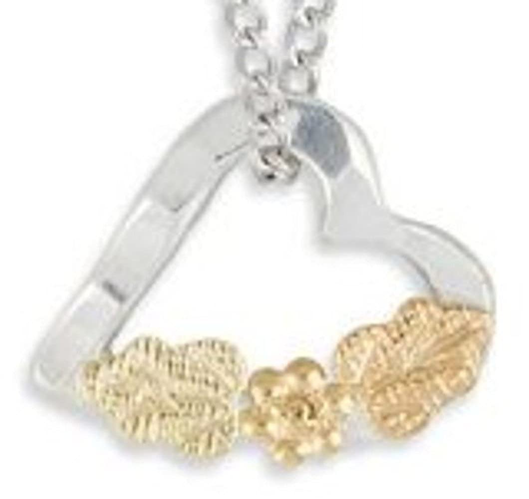 Black Hills Gold Silver Heart Childs Necklace