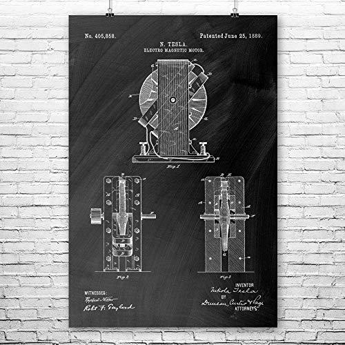 Nikola Tesla Magentic Motor Poster Print, Utility Technician, Tinkerer Gifts, Electrical Engineer, Garage Workshop Chalkboard (Black) (18