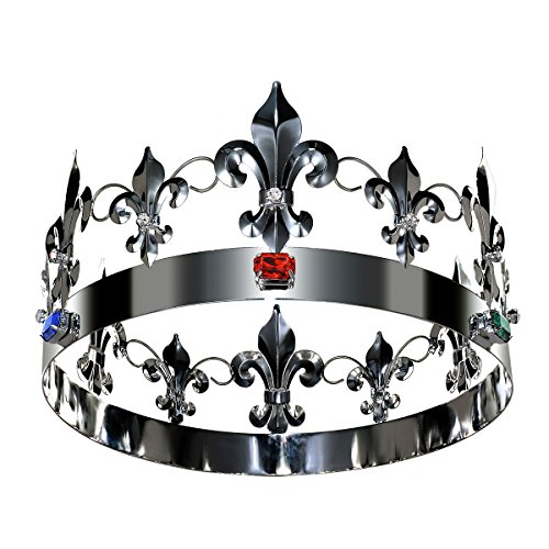 DcZeRong Adult Men Women Queen King Crowns Metal Crystal King Queen Birthday Prom Full Tiara Crowns