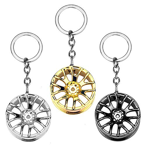 Feeko Keychain, 3 Pack Tire Key Chain Auto Racing Wheel Rim Metal Key Ring Car Accessories Assorted 3 Colors