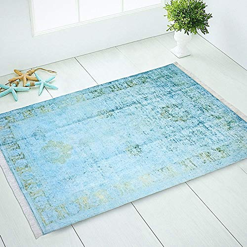 Silk Touch Turkish Area Rug, Non Slip, Non Skid, Machine Washable Rug with Silky Real Tassels (3x5, Teal Blue Turquoise Gold Distressed Ushak) - Oushak Black Area Rugs