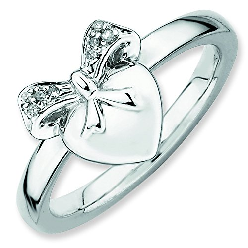 Sterling Silver Polished Prong set Rhodium-plated Stackable Expressions Heart with Bow Diamond Ring - Size 9 (Heart Jewelry Navel Diamond)