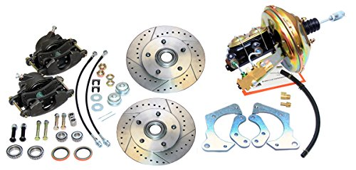 Compatible With 1967-1968 Chevrolet Impala Front Power Disc Brake Conversion Kit Slotted Rotors