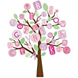 RoomMates RMK2026SLM ABC Pink Tree Peel and Stick Giant Wall Decals