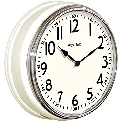 Westclox 32041W Round Vintage Kitchen Classic Clock, 12-Inch, White
