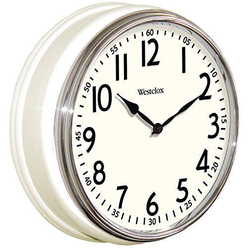 (Westclox 32041W Round Vintage Kitchen Classic Clock, 12-Inch, White)