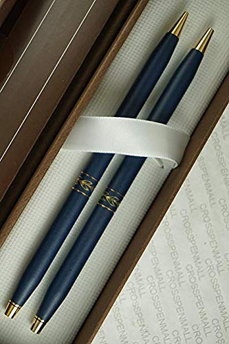 Cross Century Classic Made in USA matte blue and 14KT Gold Appointments Ladies Line Pen and 0.5mm Pencil Set