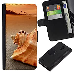 NEECELL GIFT forCITY // Billetera de cuero Caso Cubierta de protección Carcasa / Leather Wallet Case for Samsung Galaxy S4 IV I9500 // Playa Mar Shell