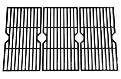Hongso PCH763 Porcelain Coated Cast Iron Cooking Grid Replacement for Select Gas Grill Models by Charbroil, Kenmore and Others, Set of 3