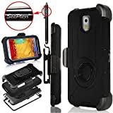 Note 3 Case, Galaxy Note 3 Case, Hinpia [Seaplays] Shockproof Heavy Duty Protection Rugged Holster Cover Case for Samsung Galaxy Note 3 with Built-in Rotating Stand and Belt Swivel Clip (Black)