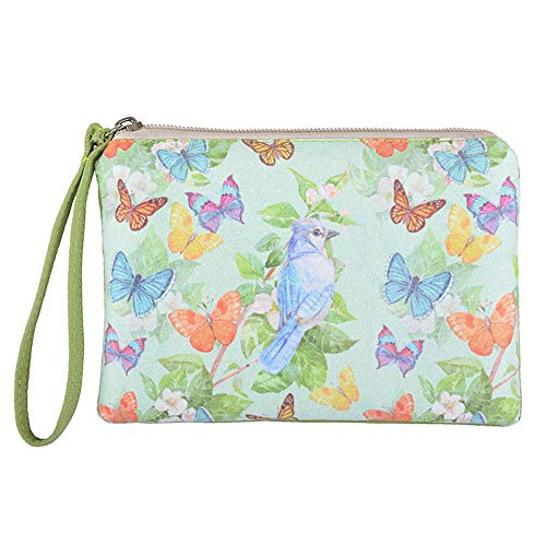 Rantanto Cute Canvas Cash Coin Purse, Make Up Bag, Cellphone Bag With Handle (BG0025 Flying Butterflies And Bird) -