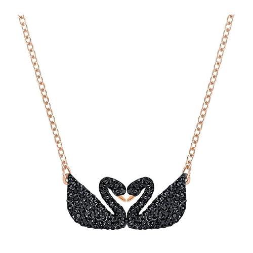 Swarovski Collana Iconic Swan Double, nero, placcato oro rosa