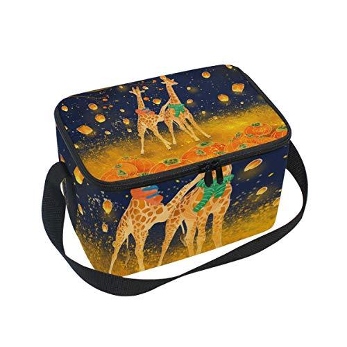 Orange Giraffe Pumpkin Lantern Large Capacity Insulated Lunch Tote Bag Portable Travel Picnic School Handbag Cooler Warm Lunchbox for Kids Chrildren Girls Boys Women Men