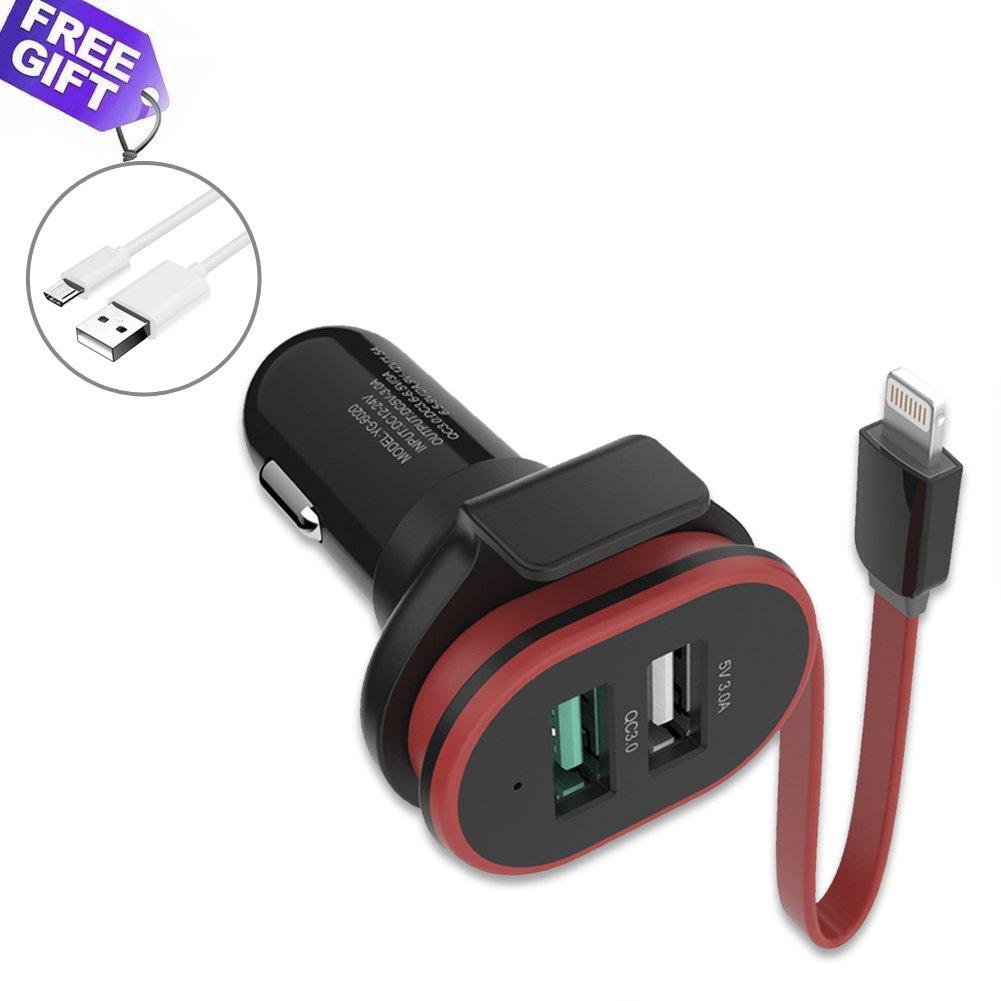 UPWADE Quick Charge 3.0 Caricatore per Auto 45W Ultra Compatto 3 Porte USB e Cavo con Connettore Lightning Caricabatterie Auto Alimentatore da Auto per Samsung iPhone iPad ecc (90CM Cavo Micro USB)