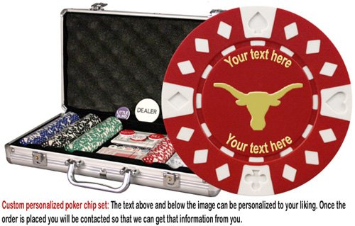 Personalized Poker Chipset (Custom Poker chip Set: Longhorn (Style 1) image & your custom text printed on the chips. 300 11.5 gram chip w/case & more.)