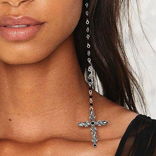 FXmimior Fashion Women Earrings Lucky Rock Cross Long Chain Drop Dangle Earrings Jewelry (Silver)